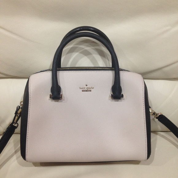 kate spade Handbags - Kate Spade Beige Black Satchel Purse Bag